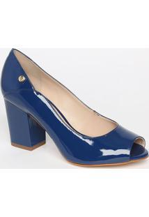 Peep Toe Em Couro Com Tag - Azul Escuro- Salto: 8Cmjorge Bischoff