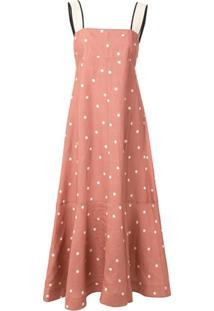 Lee Mathews Polka Dot Flared Dress - Rosa