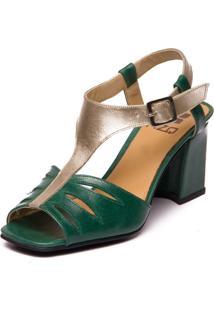 Sandália Mzq Em Couro Verde Esmeralda / Metalizado Prata 5974