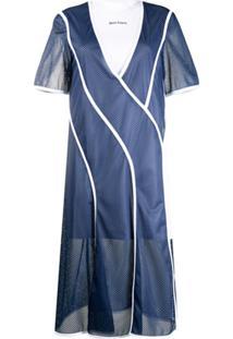 Palm Angels Vestido Com Mesh E Sobreposição - Azul