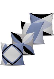 Kit 4 Capas Almofadas Decorativas Abstrata Lilas 45X45Cm - Tricae