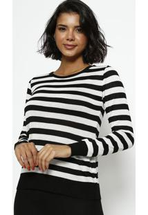 Blusa Em Tricot Listrada- Preta & Branca- Ponto Aguiponto Aguiar