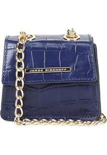 Bolsa Couro Jorge Bischoff Mini Bag Croco Alça Corrente Feminina - Feminino-Marinho