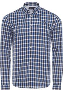 Camisa Masculina Three Colour Gingham - Azul
