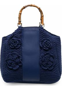 La Milanesa Bolsa Tote Sofia De Crochê - Azul
