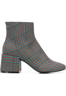 Mm6 Maison Margiela Ankle Boot Xadrez De Couro - Azul