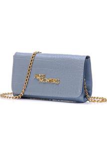 Bolsa Clutch Alice Monteiro De Mão Croco Alça Corrente - Feminino-Azul