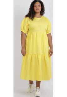 Vestido Feminino Mindset Plus Size Midi Com Babado Manga Curta Amarelo