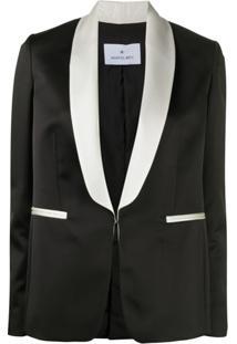 Manuel Ritz Blazer Com Lapelas Contrastantes - Preto