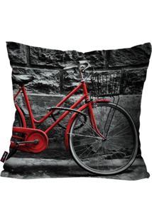 Capa De Almofada Decorativa Avulsa Preto Bicicleta 45X45Cm Pump Up