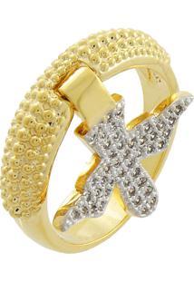 Anel Narcizza Semijoias Com Pingente Espírito Santo Cravejado Com Zircônia Cristal Ouro
