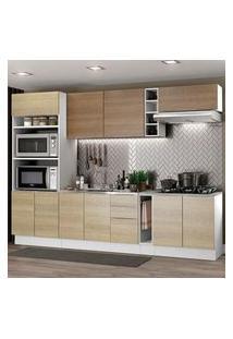 Cozinha Completa Madesa Stella 290001 Com Armário E Balcão Branco/Rustic/Saara Cor:Branco/Rustic/Saara