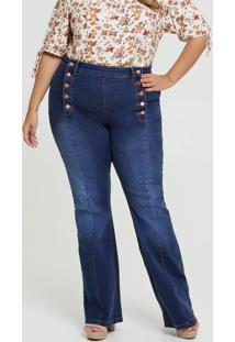 Calça Jeans Flare Feminina Botões Plus Size Marisa