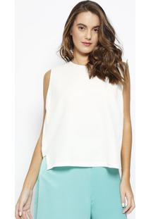Blusa Cropped Texturizada Com Recorte- Bege- Maria Vmorena Rosa
