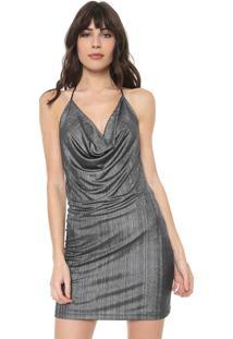Vestido Triton Curto Metalizado Prata