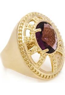 Anel Banhado A Ouro Oval Com Cristal - Feminino-Lilás