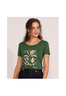 Camiseta Feminina Manga Curta Coqueiros Decote Redondo Verde Escuro