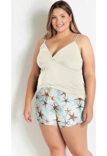 Pijama Plus Size De Alcinha Off/Estrelas