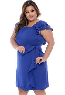 Vestido Azul Babado Transpassado Plus Size