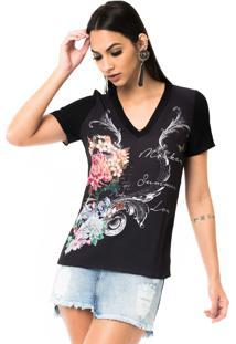 T-Shirt Moikana Gola V De Tricô Preto