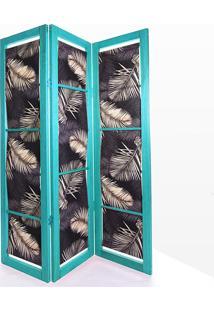 Biombo De Madeira Em Tecido Dominoes Stain Azul T03 - 150X3,5X179 Cm