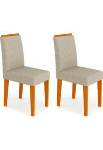 Conjunto Com 2 Cadeiras Amanda Ii Ipê E Creme