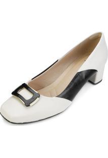 Sapato Lady Queen Am18-19019 Branco-Preto