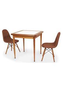 Conjunto Mesa De Jantar Em Madeira Imbuia Com Azulejo + 2 Cadeiras Botonê - Marrom