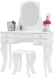 Penteadeira Patrimar Princesa Com 4 Gavetas Banqueta E Espelho Branco