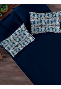 Jogo De Lençol Casal Simples Portallar Azul Marinho