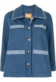 Chloé Jaqueta Jeans Com Abotoamento E Acabamento Desfiado - Azul