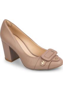 Sapato Tradicional Em Couro Com Recorte Frontal - Bege Ecapodarte