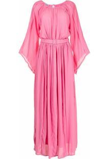 Baruni Vestido Com Cinto E Acabamento Desfiado - Rosa