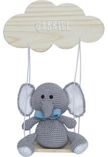 Enfeite Maternidade Balança Elefante Menino Crochê Nome Bebê Potinho De Mel - Kanui