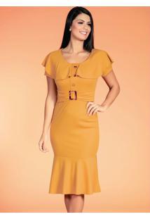 Vestido Mostarda Com Faixa Fixa Moda Evangélica