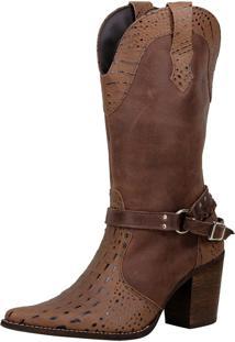 Bota Country Sapatotop Shoes Cano Alto Marrom