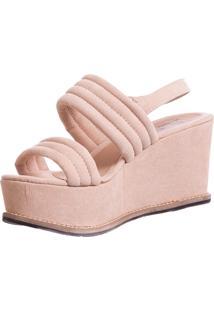 Sandália Butique De Sapatos Plataforma Suede/Rosa