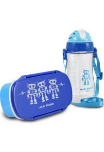 Conjunto Pote Para Lanche E Squeeze Infantil Menino Robo Jacki Design Sapeka Azul Marinho