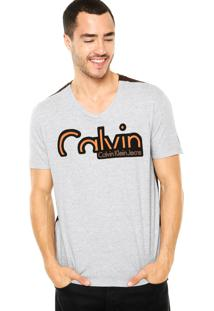 Camiseta Calvin Klein Jeans Tinturado Cinza/ Marrom