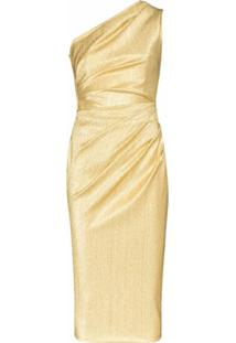 Dolce & Gabbana Vestido Midi Ombro Único Metálico - Dourado
