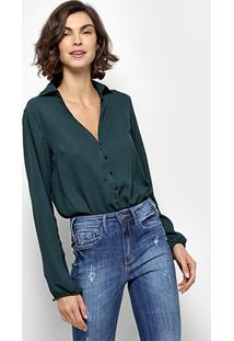 Body Holin Stone Camisa Manga Longa - Feminino-Verde Escuro