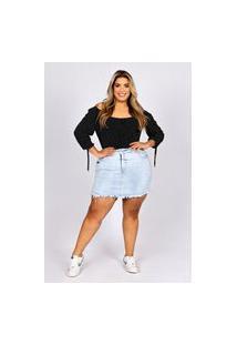 Shorts Saia Desfiado Almaria Plus Size Fact Jeans Azul