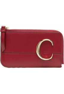 Chloé Carteira Com Logo C - Vermelho