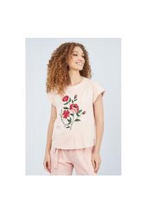 T-Shirt Reta Com Bordados Lança Perfume Camiseta Rosa