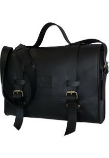 Bolsa Line Store Leather Satchel Oregon Grande Couro Preto Premium - Kanui