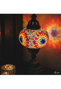 Abajur Turco Mandala Colorida 37Cm