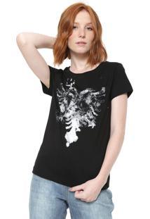 Camiseta Cavalera Estampada Preta