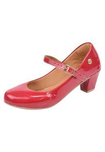 Scarpin Donna Santa Bico Redondo Boneca Vermelho