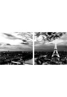 Quadro Decorativo Duplo De Acrílico De Parede Paisagem Torre Eiffel Paris 40X40 - Art Frame