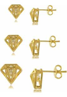 Trio De Brincos Diamante Com Zircônia 3Rs Semijoias Dourado